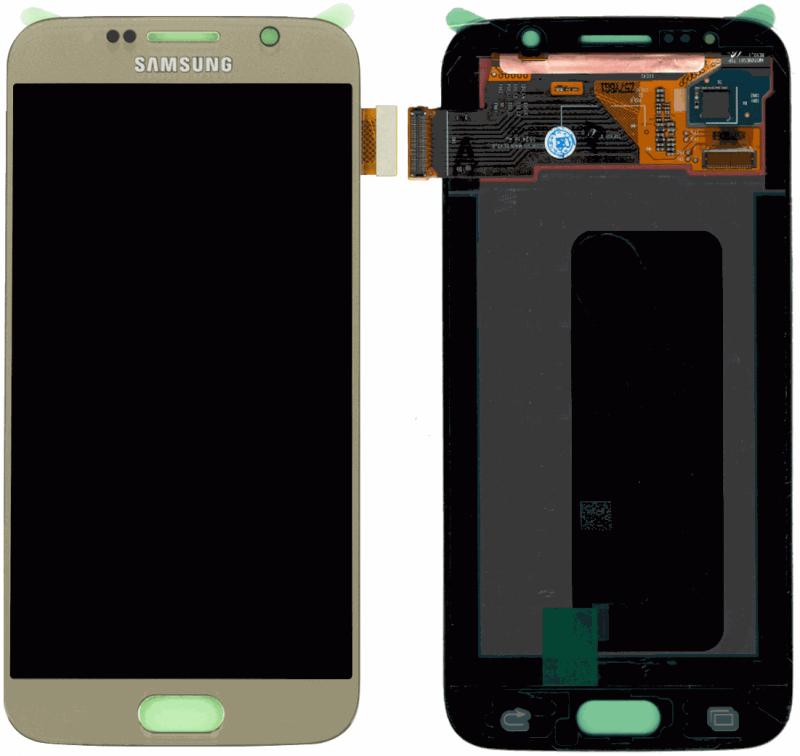 Картинка Дисплей Samsung G920F Galaxy S6 в сборе с тачскрином золото ORIG  от магазина NBS Parts