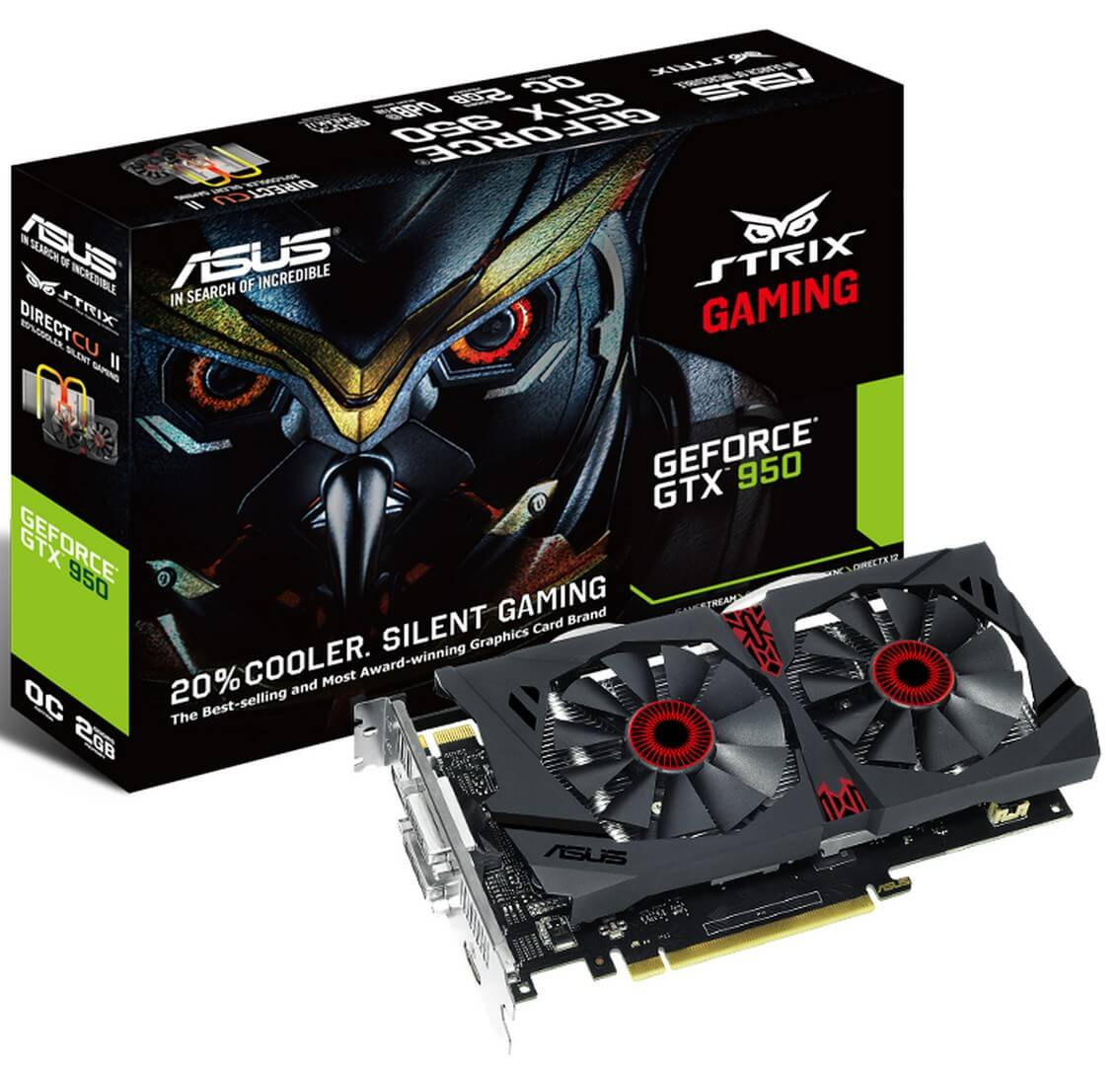 Картинка Видеокарта ASUS GeForce GTX950 STRIX, 2Gb, 128bit, HDMI, (GTX950-DC2OC-2GD5-GAMING) от магазина NBS Parts