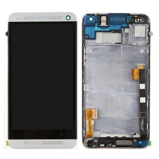 Картинка Дисплей HTC One M7 в сборе с тачскрином серебро с рамкой от магазина NBS Parts