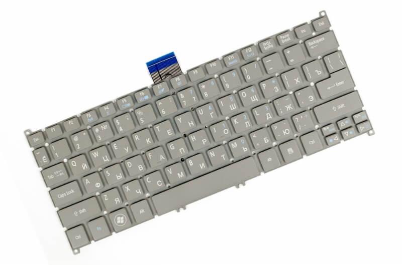 Картинка Клавиатура для Acer S3 S5 V5-121 Серая P/n: 9Z.N7WPW.20R, 90.4BT07.A0R, V128230AS1, NSK-R12PW от магазина NBS Parts