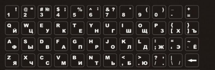 Картинка Наклейки на клавиатуру черные прозрачные от магазина NBS Parts