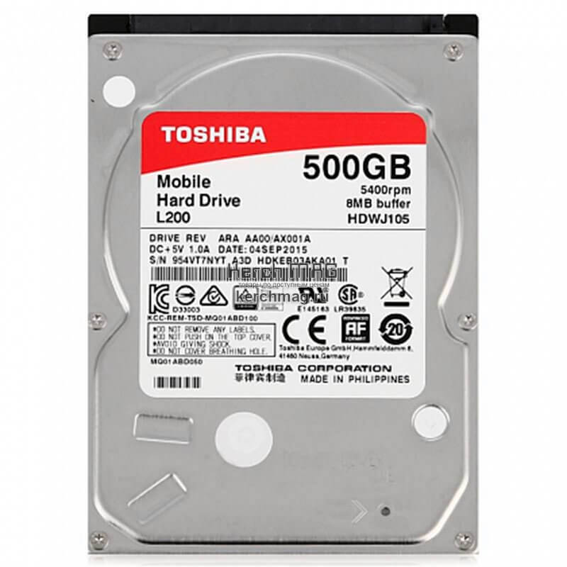 """Картинка Жесткий диск TOSHIBA SATA 500Gb 2.5"""" L200 Slim от магазина NBS Parts"""